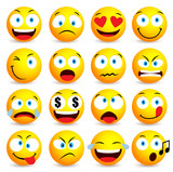 Fototapety Smiley face and emoticon simple set with facial expressions isolated in white background. Vector illustration