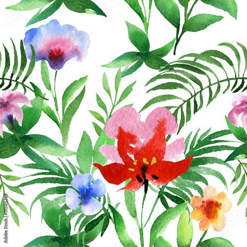 Stoffe zum Nähen Aquarell nahtlose Blumenmuster