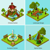 Isometric 2x2 Landscape Design Concept