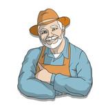 illustration of an elderly man in a hat
