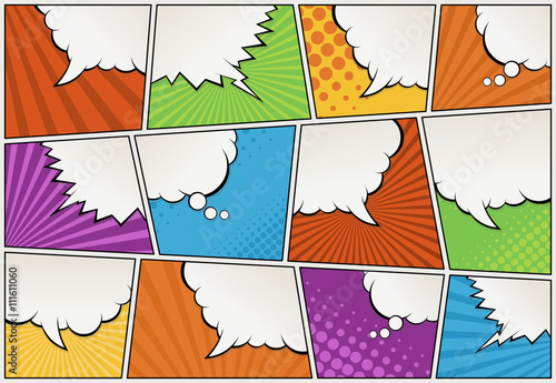 Comic book page with speech bubbles. Comic strip background.  - 111611060