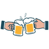 Vector iconic illustration of a two businessmen holding glasses of beer and toasting