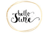 Hello June inscription. Greeting card with calligraphy. Hand drawn design. Black and white.