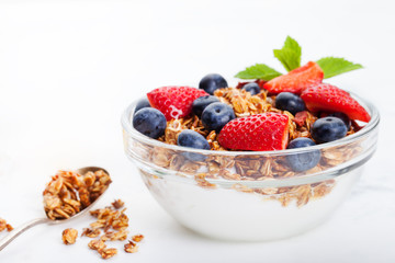 Healthy breakfast Fresh granola, muesli in bowl