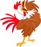 Happy cartoon rooster crowing