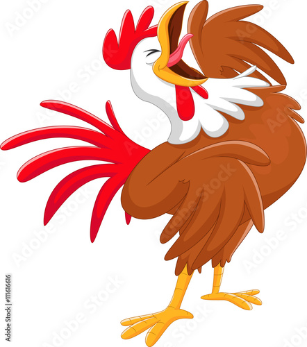Aluminium Boerderij Happy cartoon rooster crowing