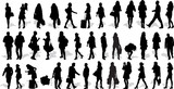 Set of 37 vector's silhouettes of people in action