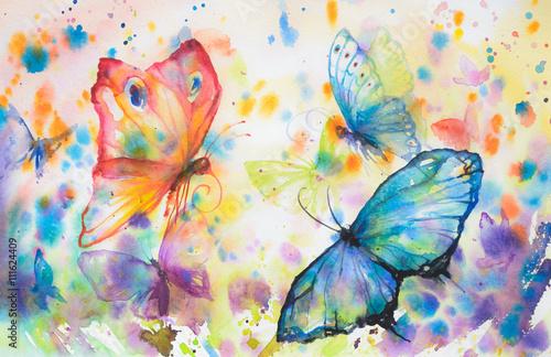 handpainted-kolorowe-tlo-z-latajace-motyle-obraz-stworzony-z-akwarelami
