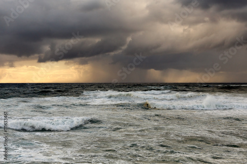 Rain and storm at sea with interesting light