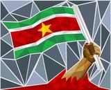 Powerful Hand Raising The Flag Of Suriname