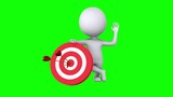 Animation of 3d white people hit the red target with three arrows and waving hand. Hello gesture. Available in 4K FullHD and HD video 3D render footage on chroma key green screen