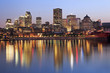 Montreal skyline and St Lawrence River at dusk, Quebec, Canada