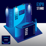 Blank Square Blue Exhibition Booth