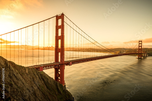 Plakat Golden Gate Bridge in the morning famous landmark in San Francisco California USA