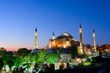 View of Hagia Sofia or Ayasofya at night in Istanbul. Turkey