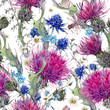 Summer watercolor seamless floral pattern with wild flowers - 111654216