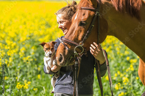 girl with her pets