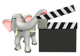 fun Elephant cartoon character with clapper board