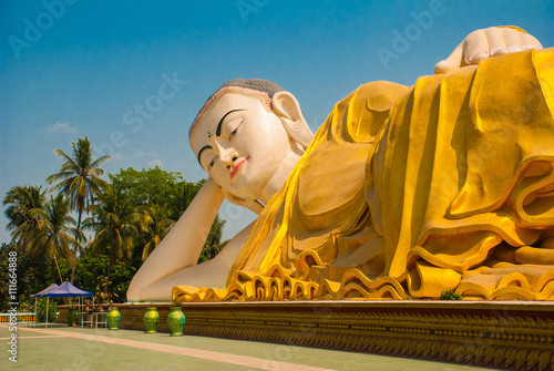 Mya Tha Lyaung Reclining Buddha. Bago. Myanma. Burma. Poster