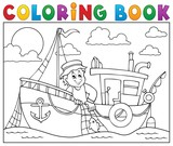 Coloring book with fishing boat theme 1