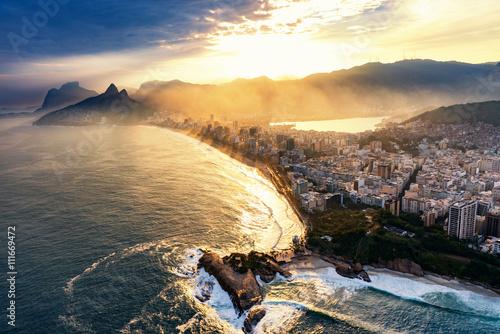 Poster Rio De Janeiro, sunset over Ipanema beach