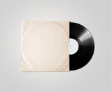 Fototapety Blank vinyl album cover sleeve mockup, isolated, clipping path.