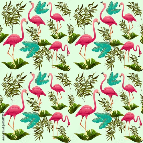 Foto op Canvas Draw Pink Flamingos Pattern Vector