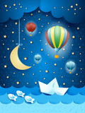 Surreal seascape with hot air balloons and paper boat