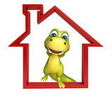 cute Dinosaur cartoon character with home sign