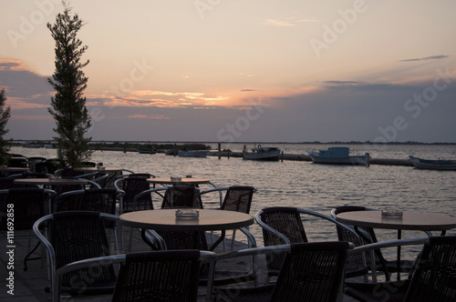 Cafe at sunset