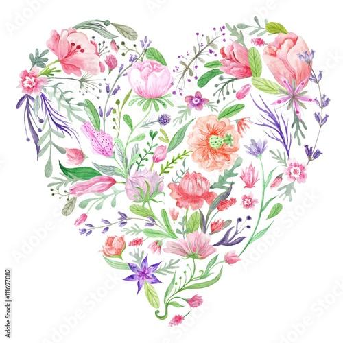 Fototapeta Heart of Summer Watercolor Floral Illustration