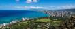 The coastline of Waikiki Beach leading into Waikiki and Honolulu