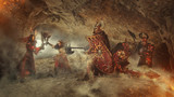 Mortal combat of powerful knights in heavy armor in the Forbidde