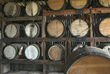 Old oak barrels of cachaca, Brazilian traditional drink