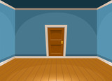 Fototapety Cartoon flat empty room with a door in blue style. Vector illustration