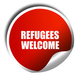 refugees welcome, 3D rendering, a red shiny sticker