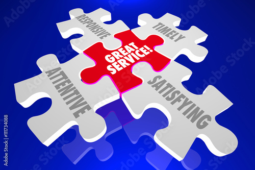 Poster Great Customer Service Puzzle Pieces Attentive Responsive 3d Ill