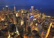 Chicago skyline and Lake Michigan at dusk