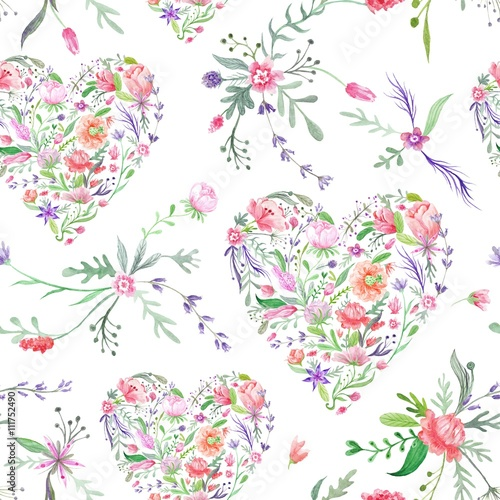 Cotton fabric Provence Watercolor Pattern with Floral Hearts