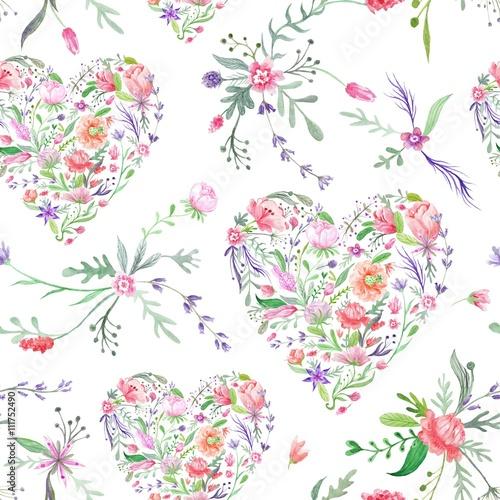 Materiał do szycia Prowansja akwarela wzór kwiatowy serca