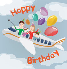 Happy Birthday Card. Family in Plane. Happy Family with Balloons