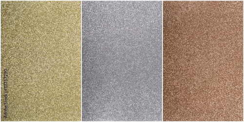 Plakát Bronze, silver, and gold background in textured sparkle with thin white outline