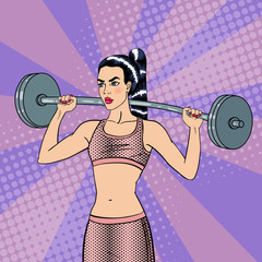 Woman with Barbell. Fit Girl. Healthy Lifestyle. Pop Art. Vector