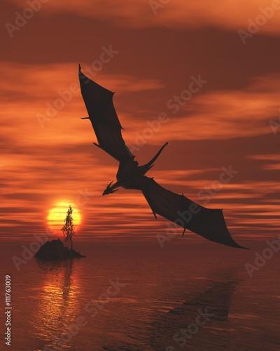 dragon-volant-bas-sur-la-mer-au-coucher-du-soleil-illustration-fantastique