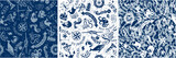 vintage nautical and marine elements, vector seamless pattern - 111773482
