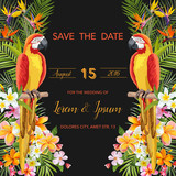 Save the Date. Wedding Card. Tropical Flowers. Parrot Bird. Tropical Design