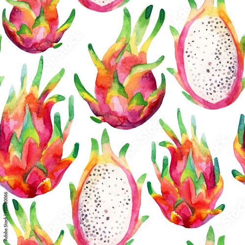 Cotton fabric Watercolor dragon fruit seamless pattern on white background