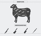 Cuts of lamb meat. - 111782658