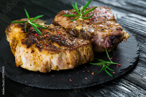 Poster Pork steak grilled
