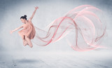 Fototapety Dancing ballet performance artist with abstract swirl